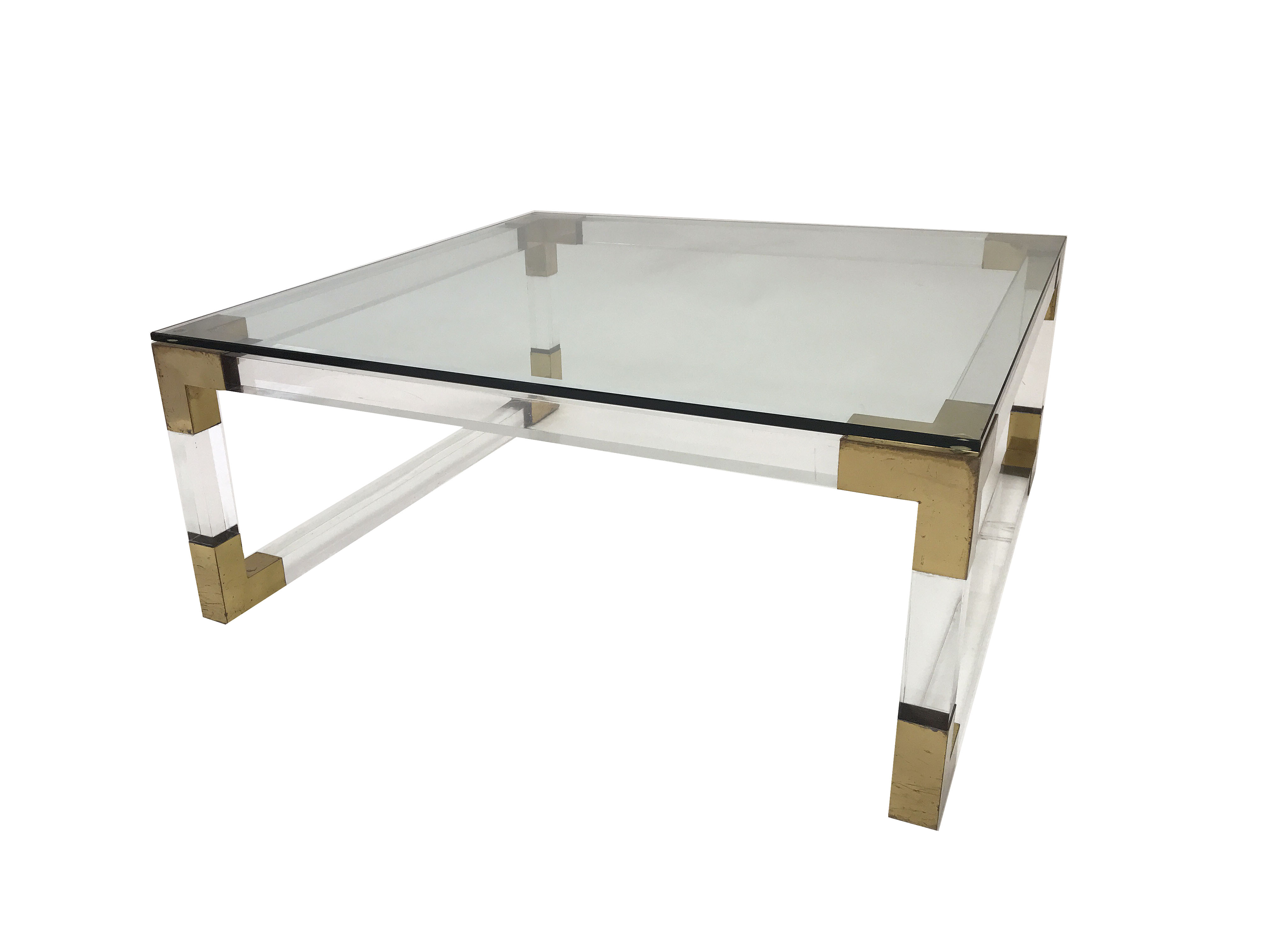 Vintage French Acrylic And Brass Square Coffee Table Mecox Gardens