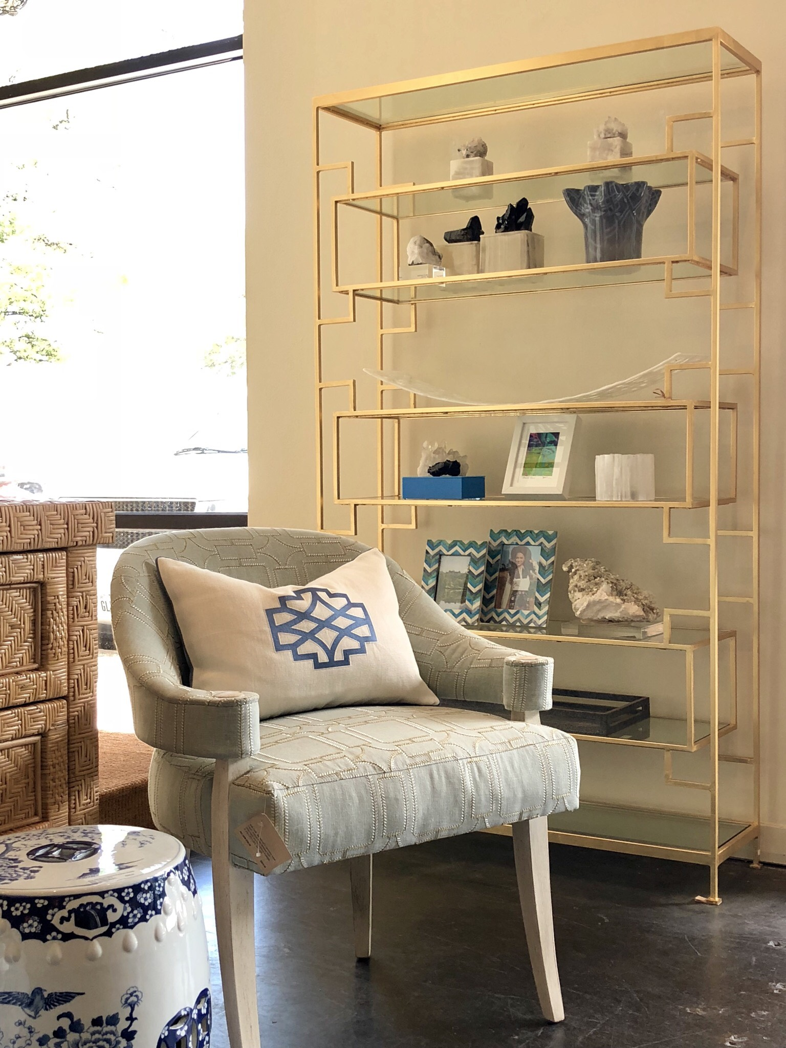 Geometric Gold Leaf Etagere Bookcase Mecox Gardens