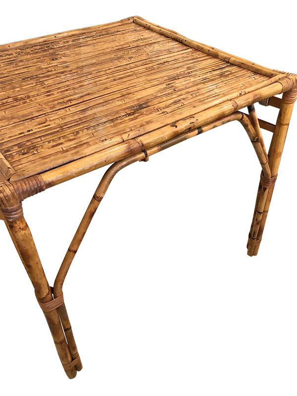 Vintage Bamboo And Rattan Game Table