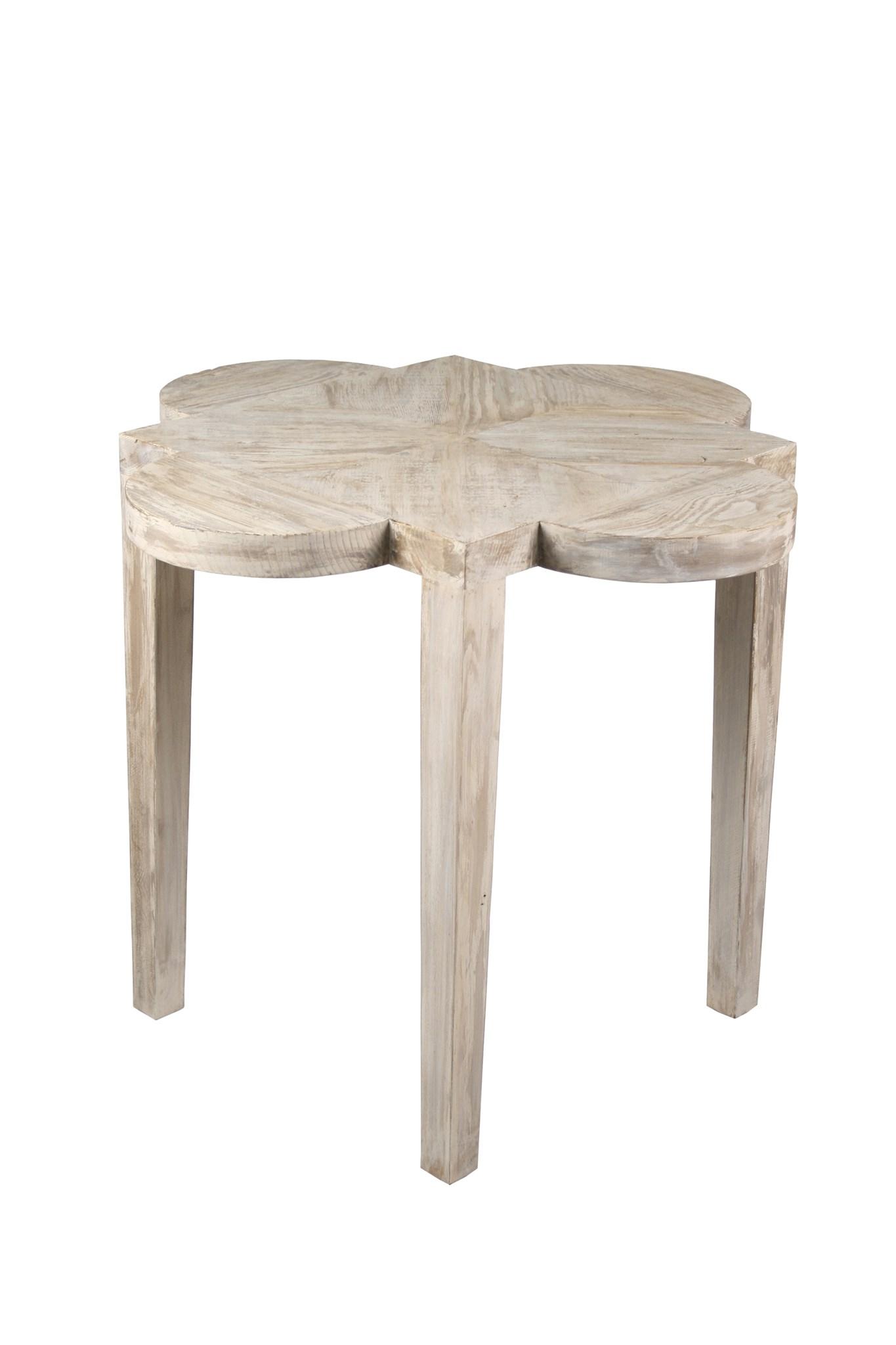 Quatrefoil Reclaimed Wood Side Table Mecox Gardens
