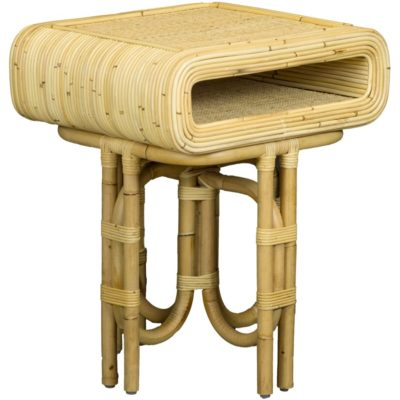 Curved Rattan Side Table