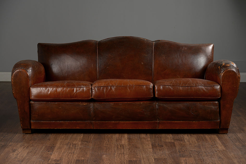 Antique French Leather Sofa Mecox Gardens