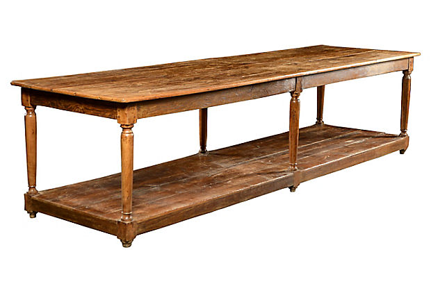 Antique Cherry - Oak and Pine Kitchen Work Table - Mecox Gardens