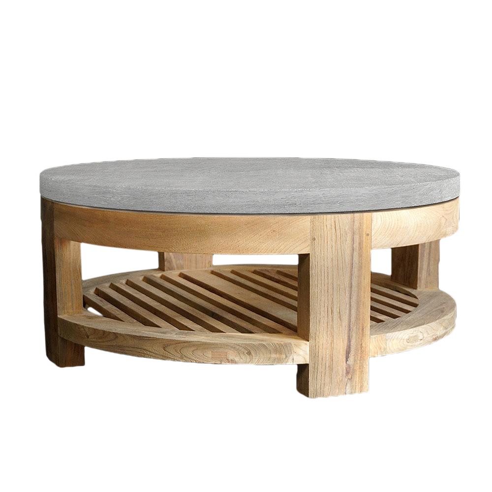 Concrete & Reclaimed Teak Cocktail Table - Mecox Gardens