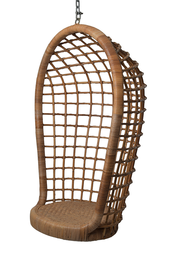 Vintage Hanging Rattan Chair Mecox Gardens