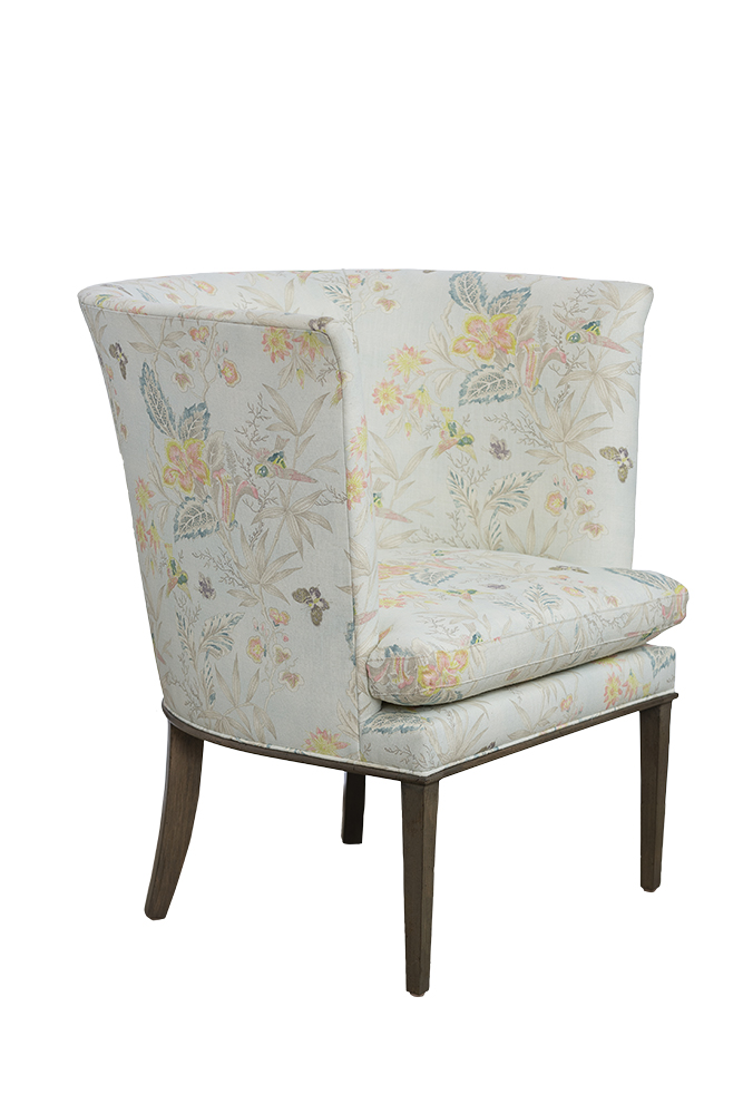 Maddie Chair Upholstered In Floral Linen Fabric Mecox Gardens