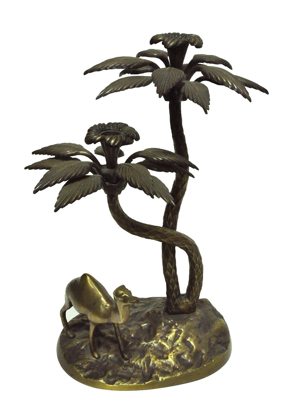 Vintage Brass Camel And Palm Tree Candle Holder Mecox