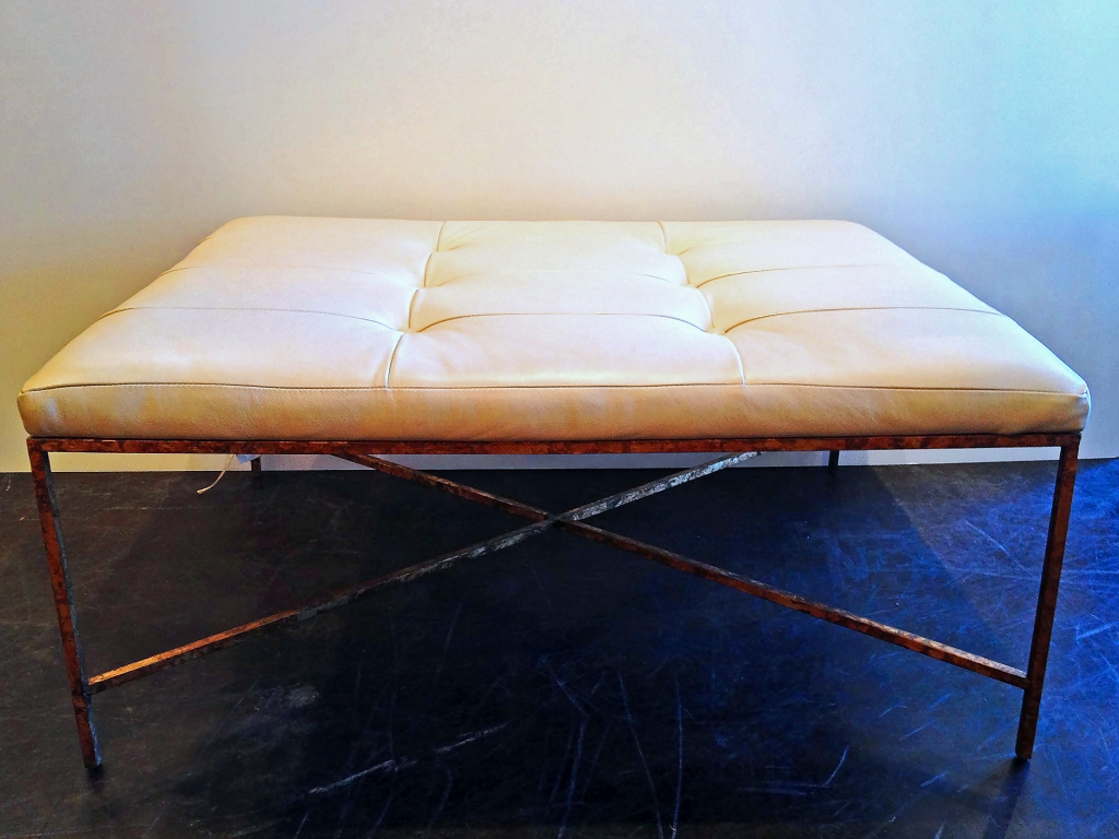 Leather Tufted Top And Metal Base Ottoman Mecox Gardens