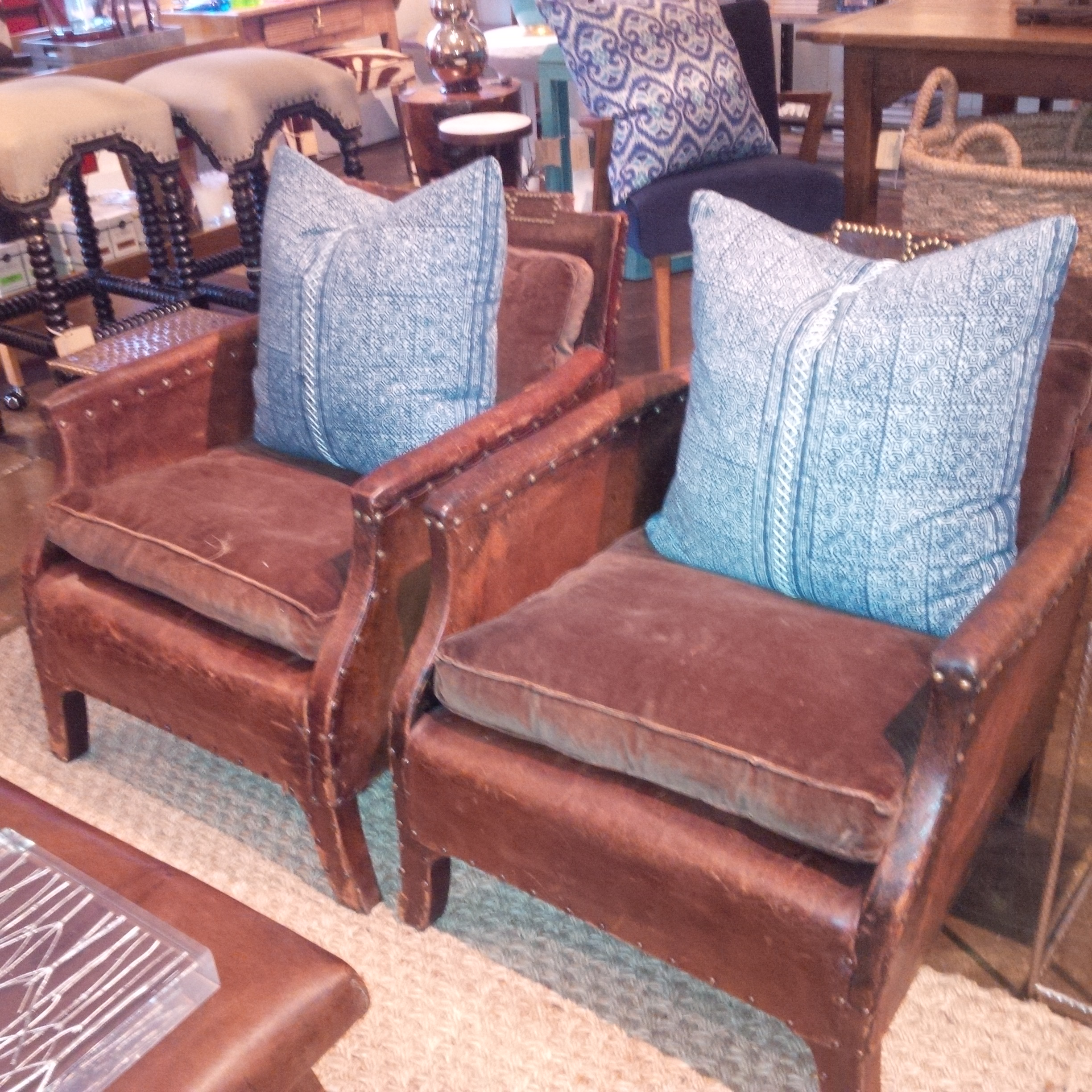 Pair Of Small French Vintage Club Chairs