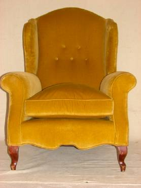 French Mustard Velvet Wing Chairs