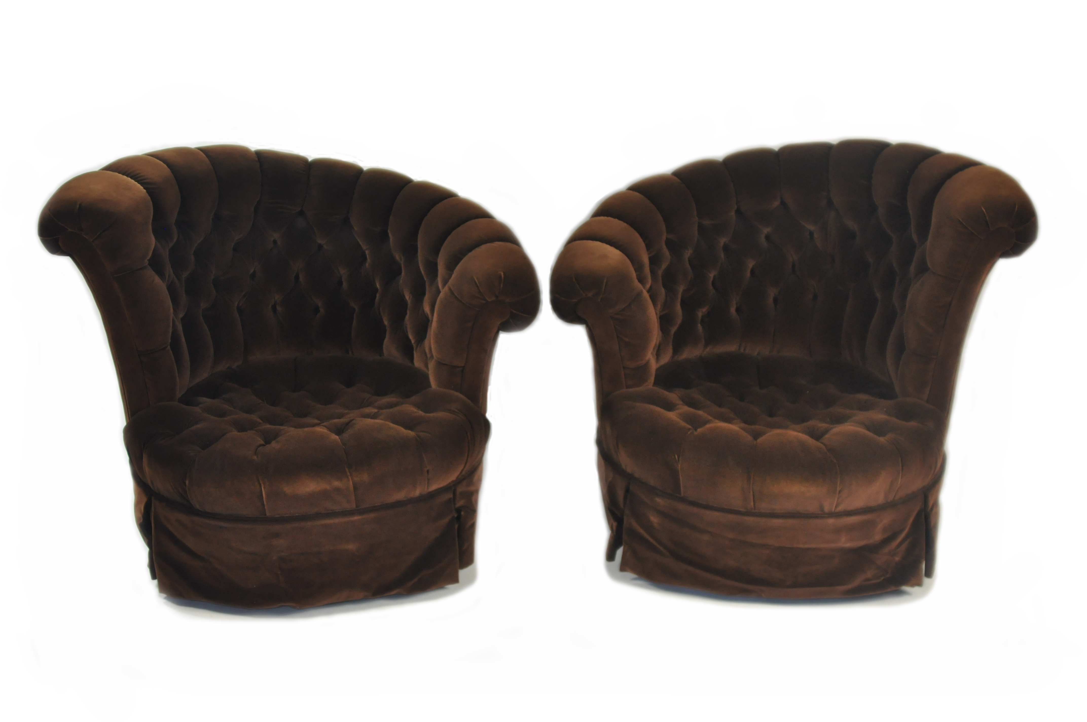 Pair Of Vintage Tufted Velvet Chairs