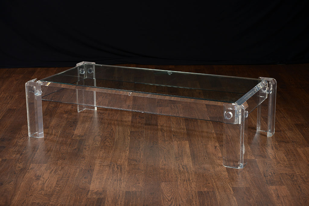 Vintage Low Rectangular Acrylic Coffee Table - Mecox Gardens