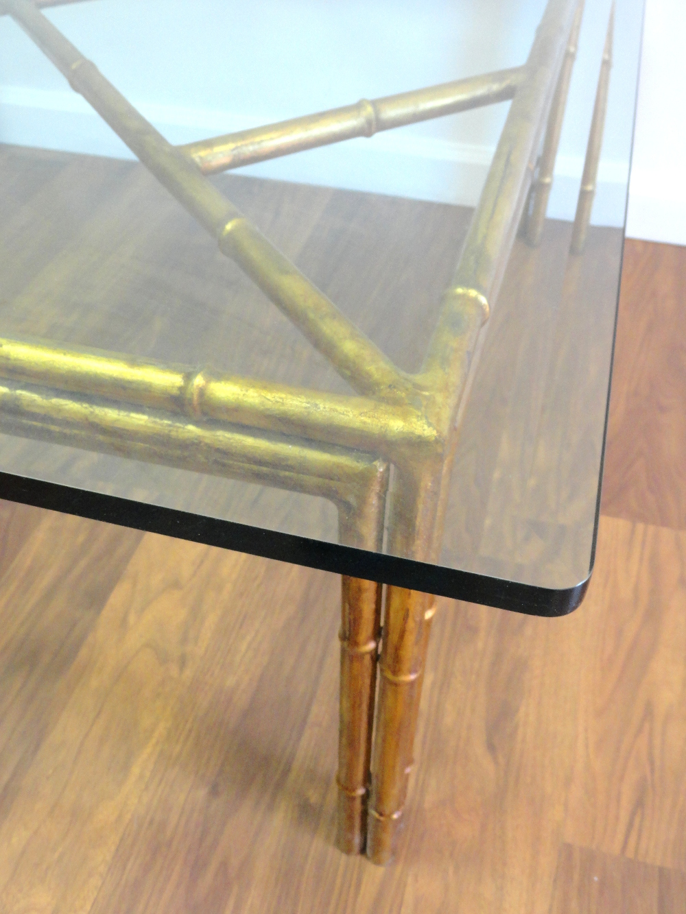Vintage Gilded Faux Bamboo Square Coffee Table