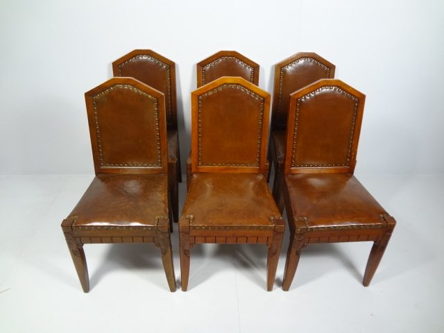 Antique Leather and Wood Dining Chairs - Mecox Gardens 847465319