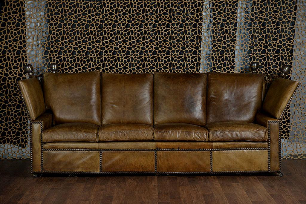 Antique English Leather Knoll Sofa ...