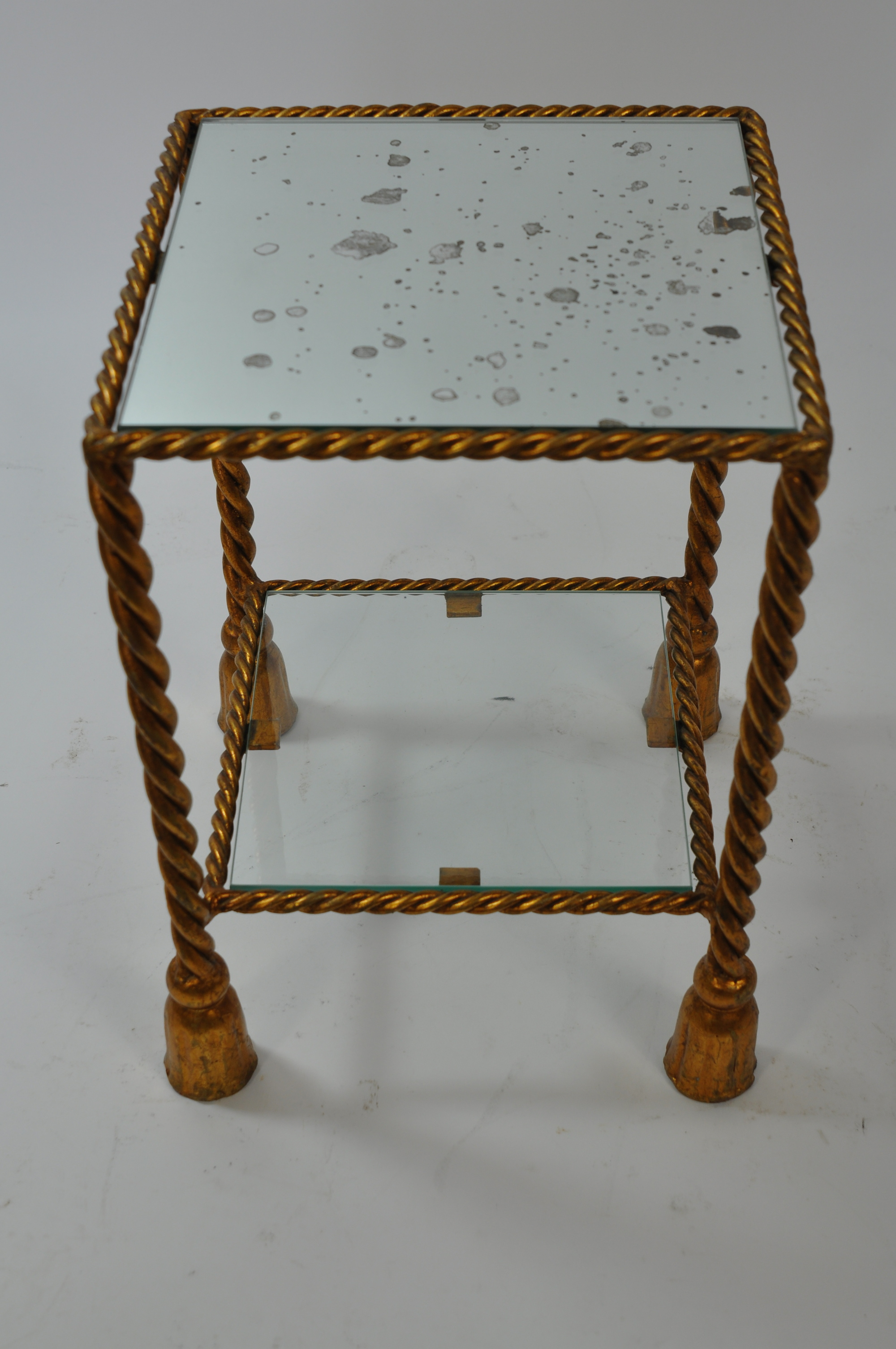 Small Vintage Gilded Italian Tassel Side Table
