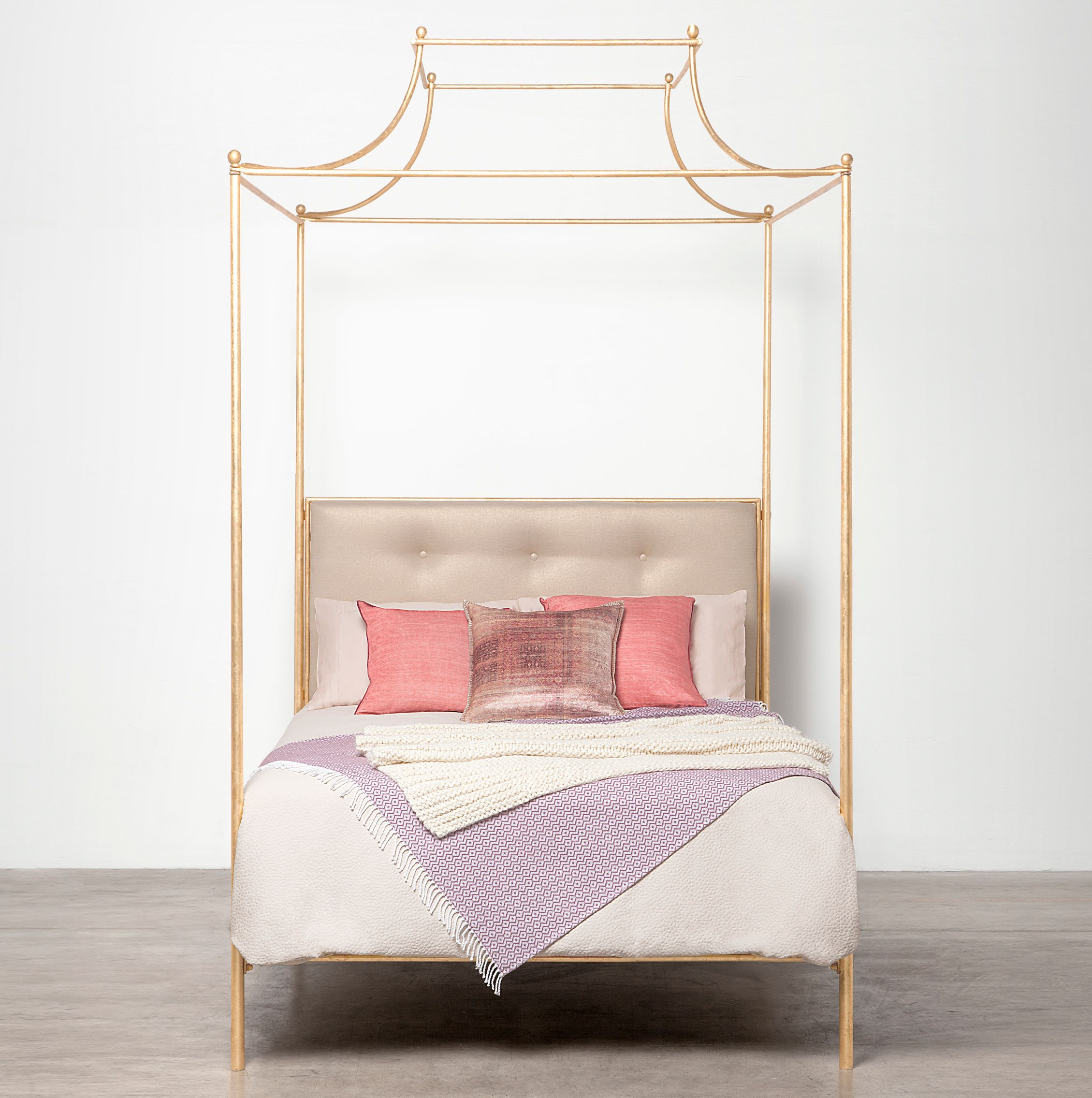 Carissa Queen Canopy Top Four Poster Metal Bed Mecox Gardens