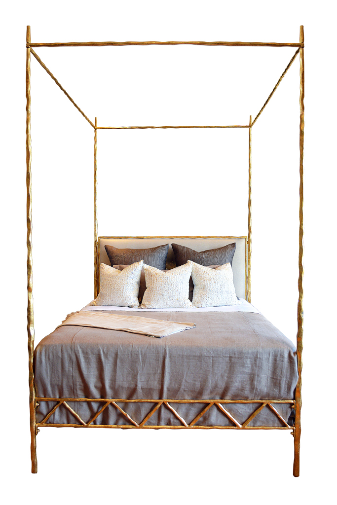 Mandy Queen Four Poster Twisted Metal Bed Mecox Gardens