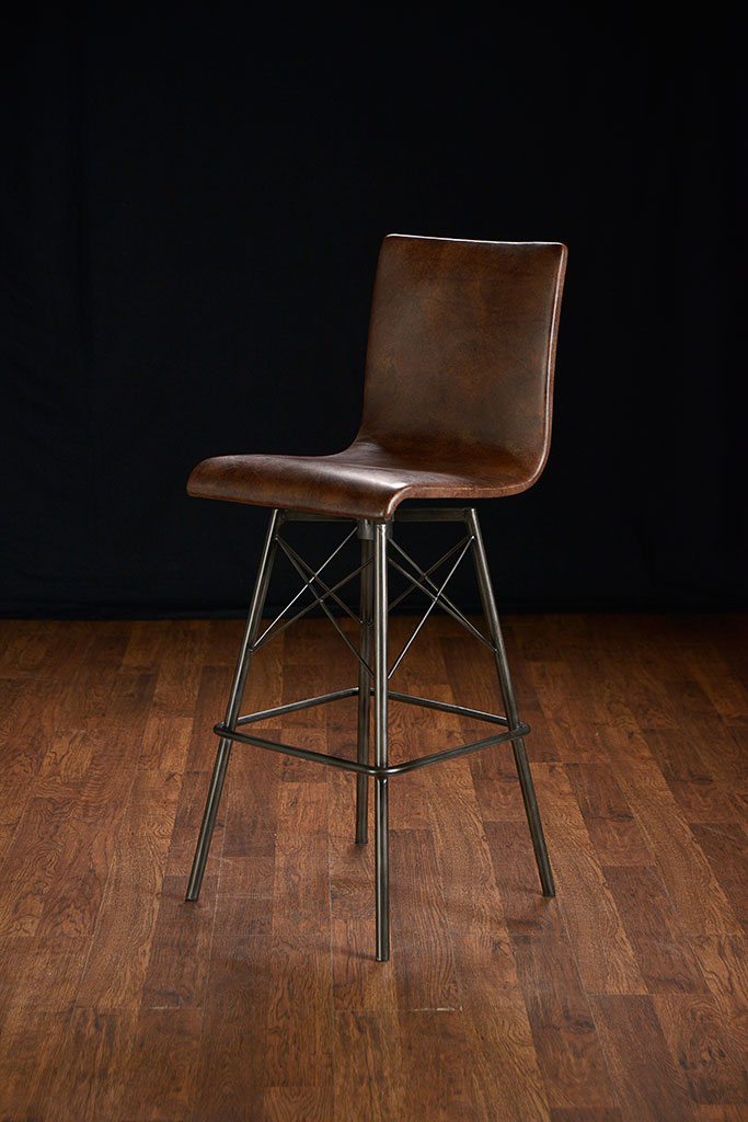 Jenna Swivel Leather Bar Stool