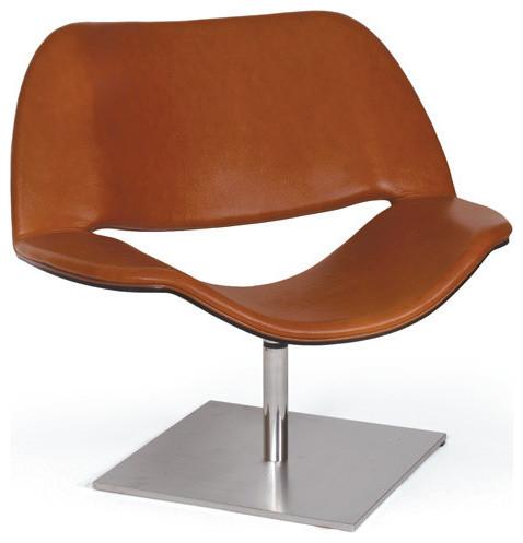 Mid Century Modern Leather Swivel Chair