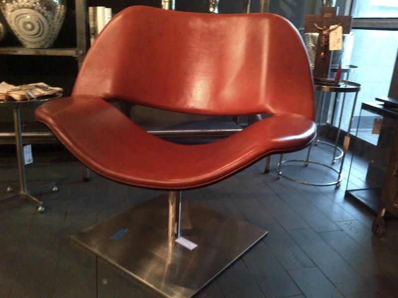 Mid Century Modern Leather Swivel Chair Mecox Gardens