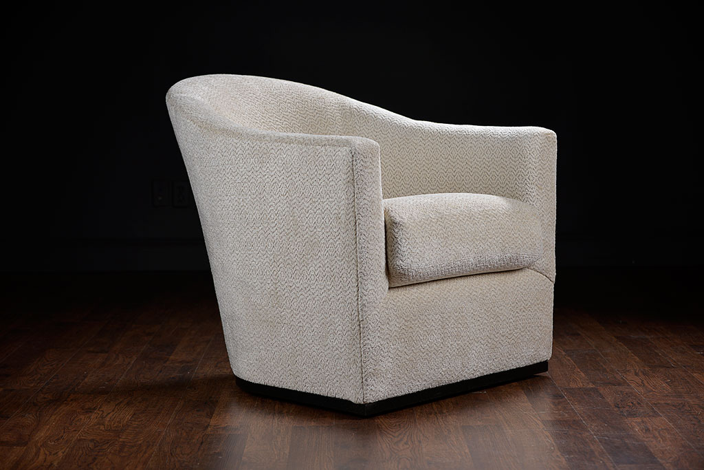 Cream Chenille Swivel Chair