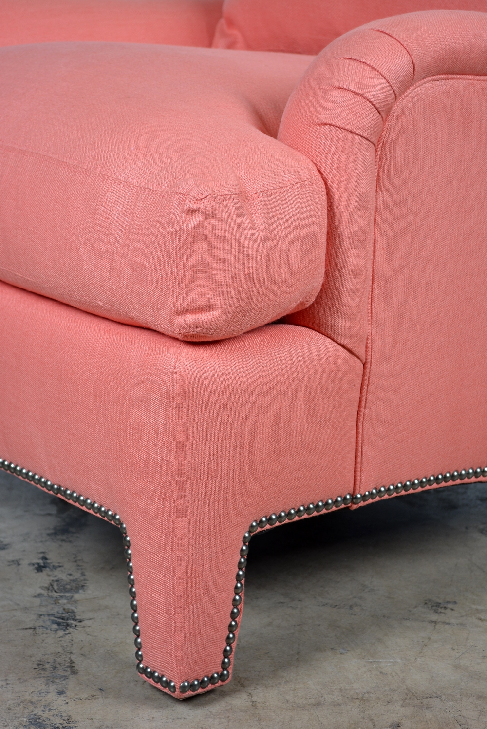Rolled Arm Coral Upholstered Chair