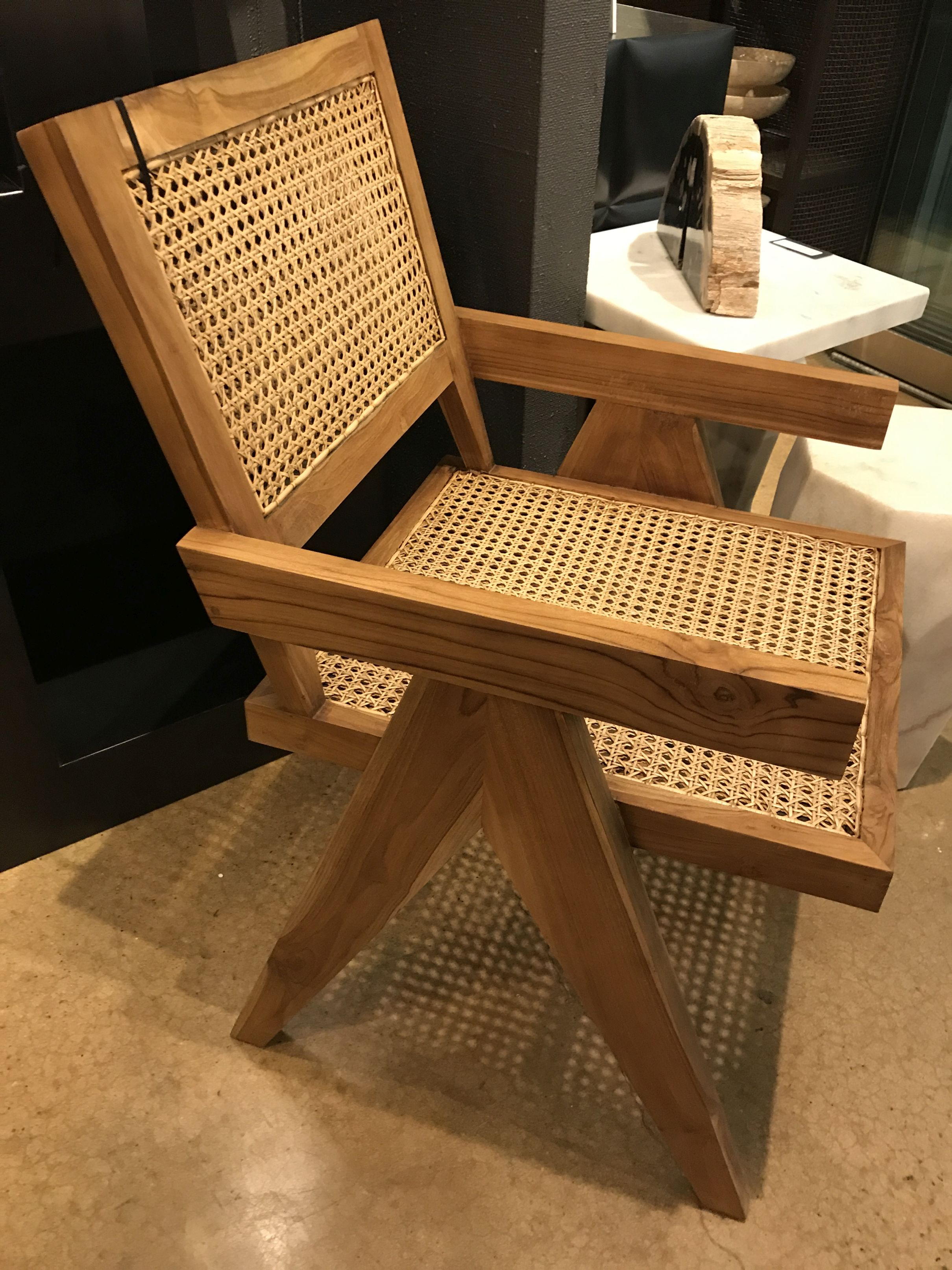 Excellent Jake Teak And Cane Arm Chair Mecox Gardens Andrewgaddart Wooden Chair Designs For Living Room Andrewgaddartcom