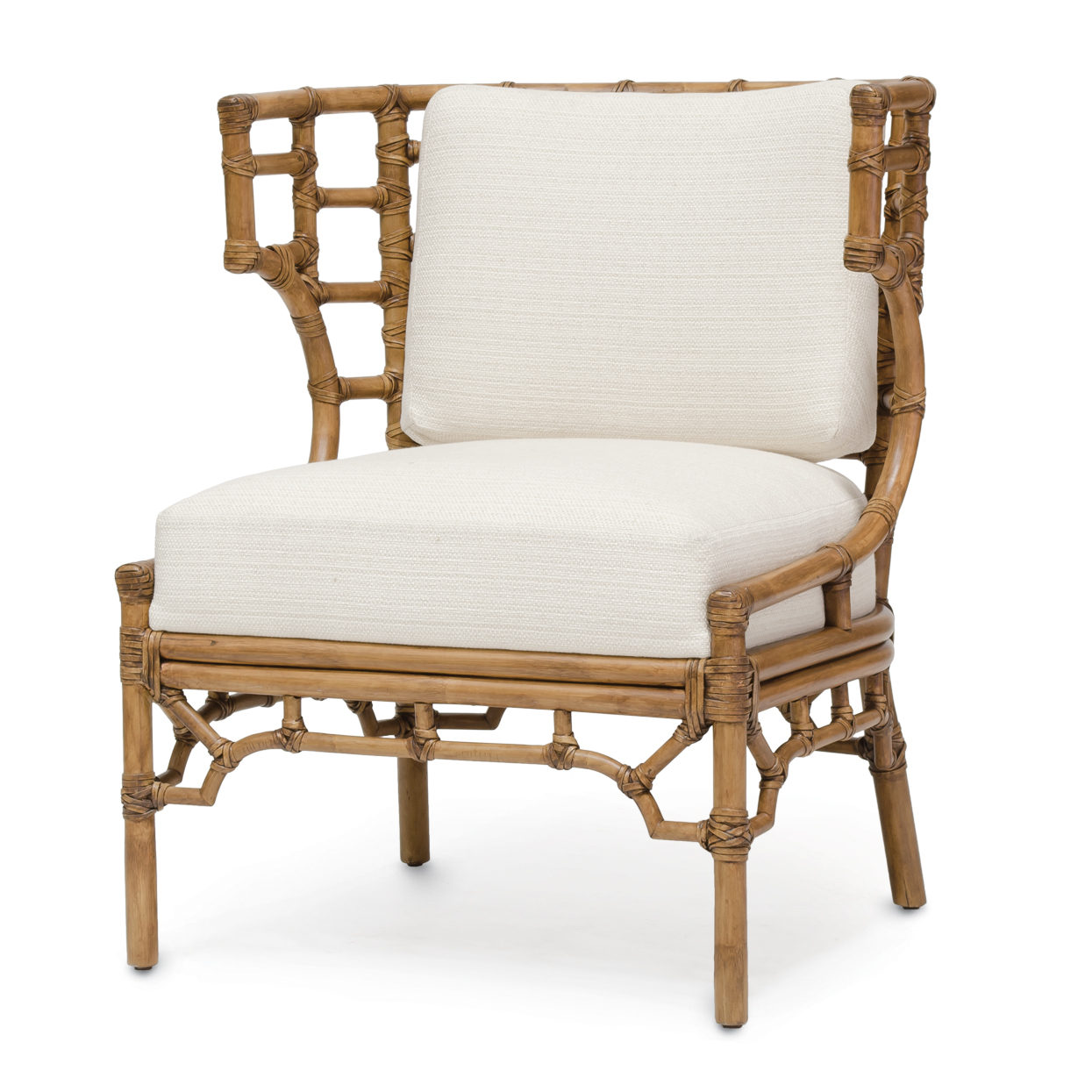 Beau Rattan Klismos Lounge Chair
