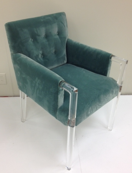 Acrylic And Velvet Tufted Arm Chair