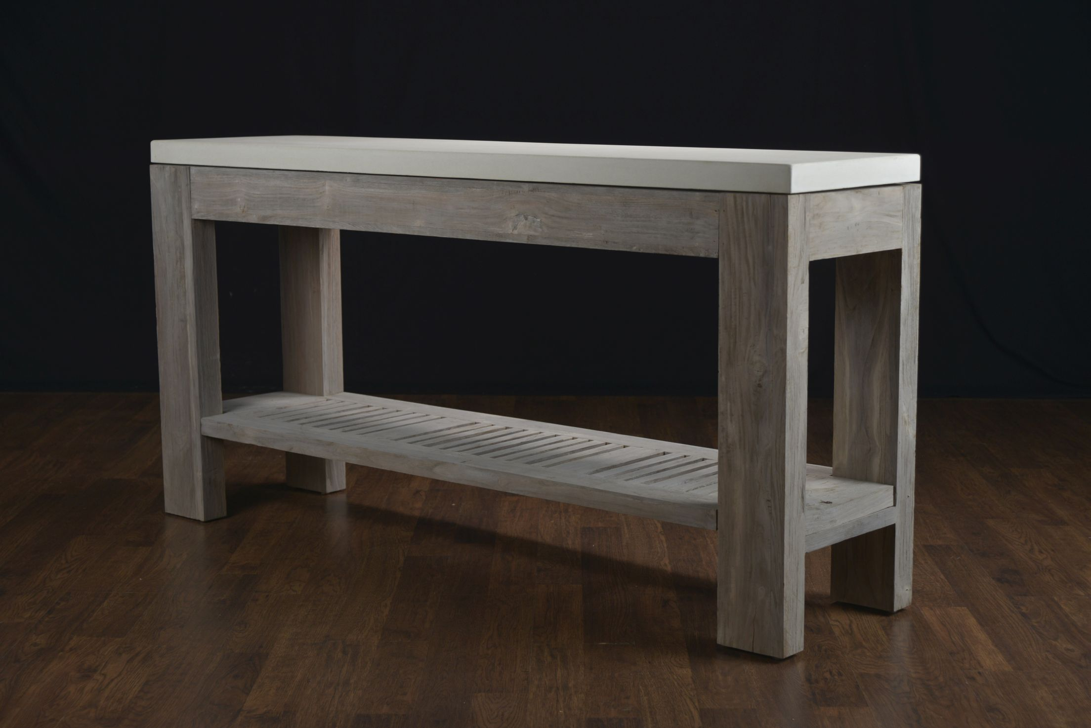 Concrete And Reclaimed Teak Console