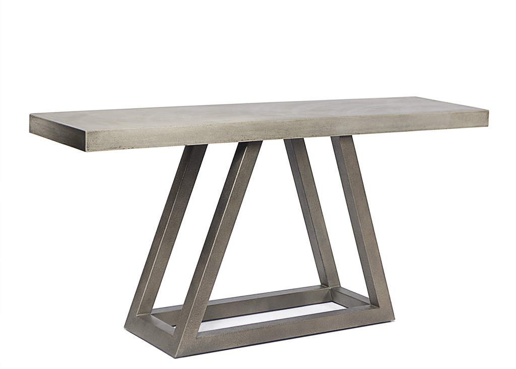 Steel And Concrete Outdoor Triangle Console