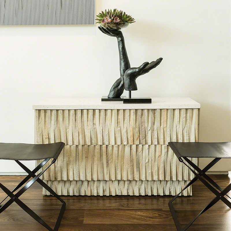 Rectangular Stone Top Console Table