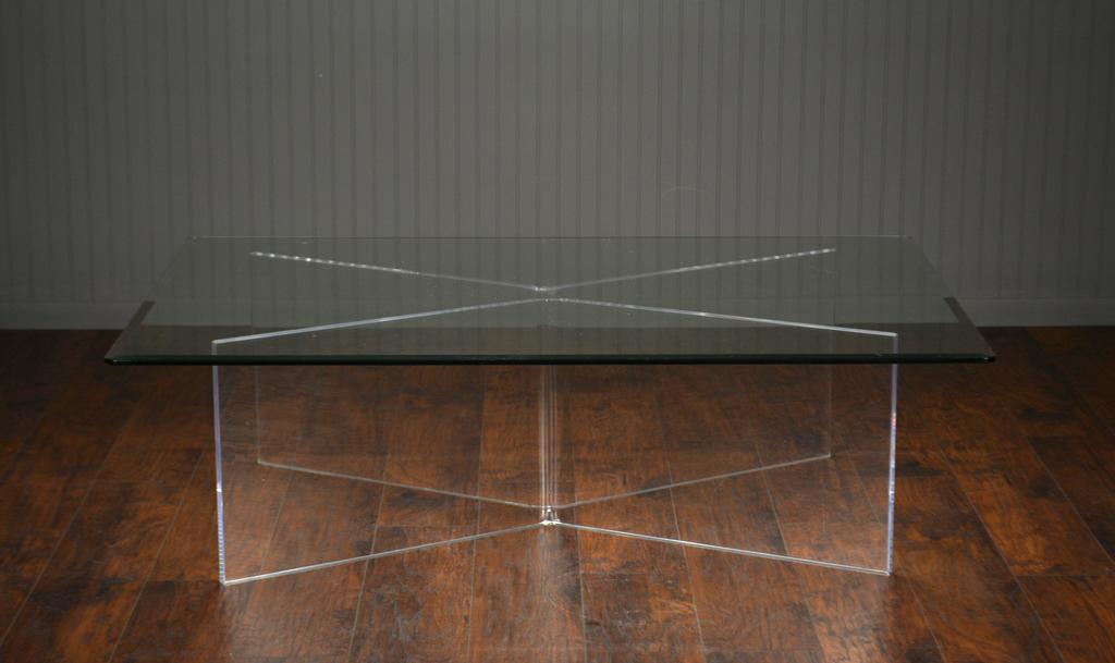 Superbe Angled Acrylic And Glass Coffee Table