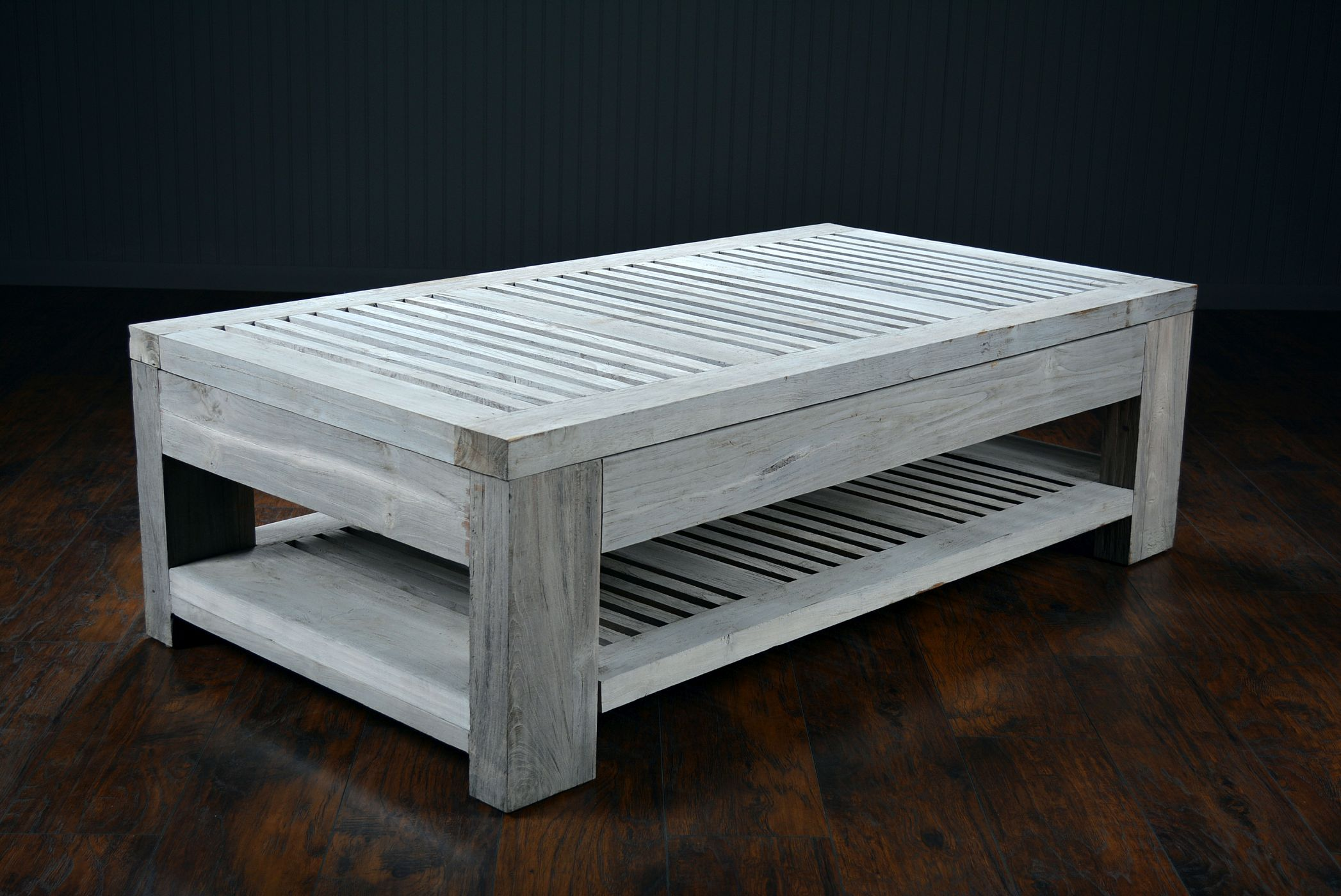 Slatted Reclaimed Aged Teak Outdoor Coffee Table - Mecox Gardens