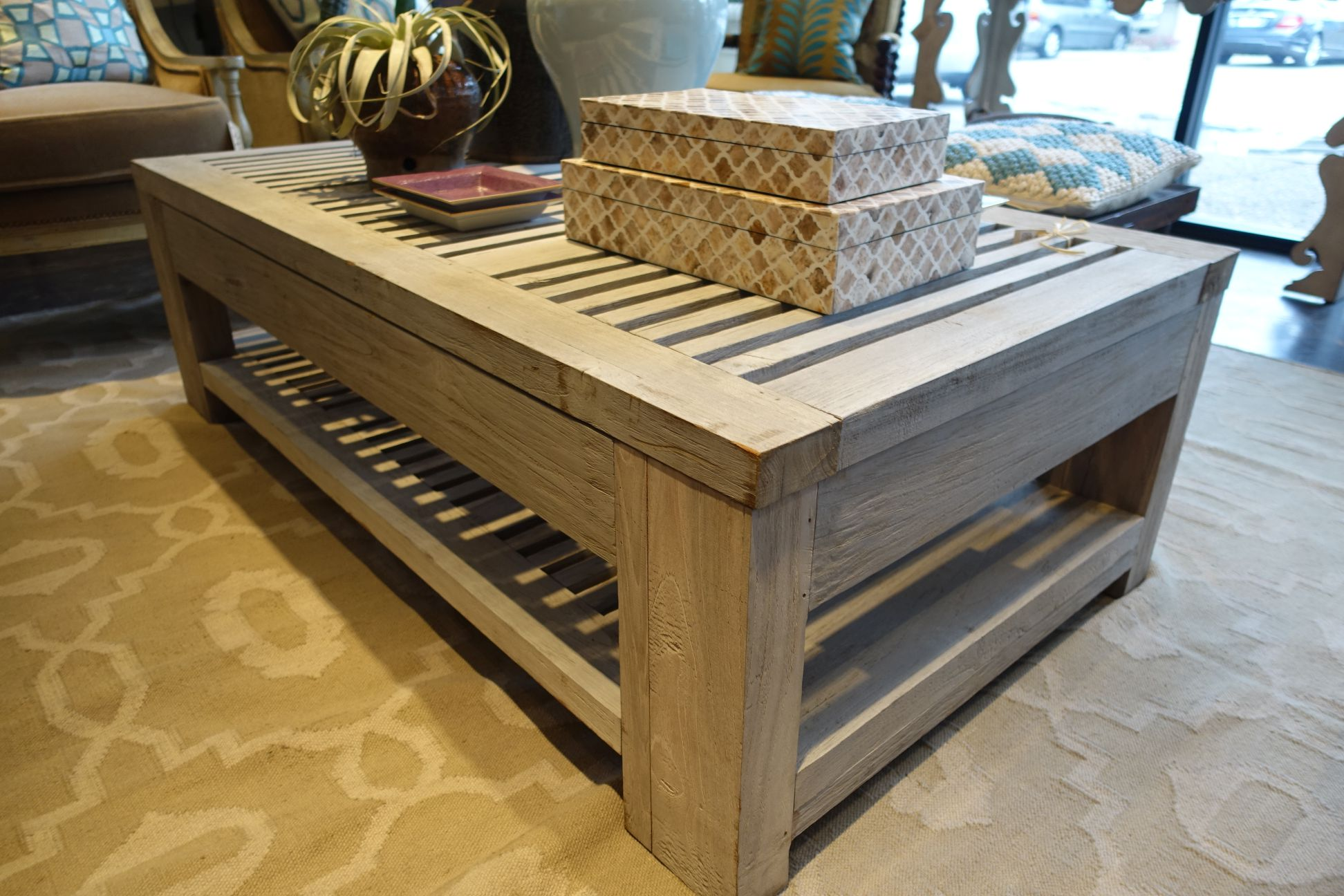 Slatted Reclaimed Aged Teak Outdoor Coffee Table Mecox Gardens