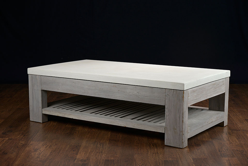 Slatted Teak And Concrete Outdoor Coffee Table Mecox Gardens
