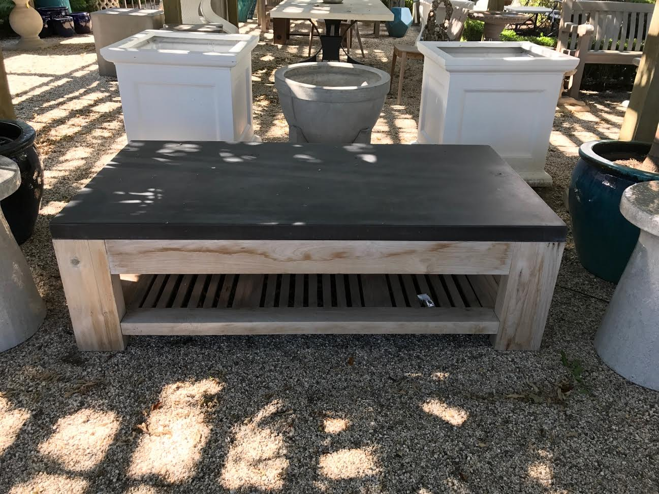 Slatted Teak and Concrete Outdoor Coffee Table - Mecox Gardens