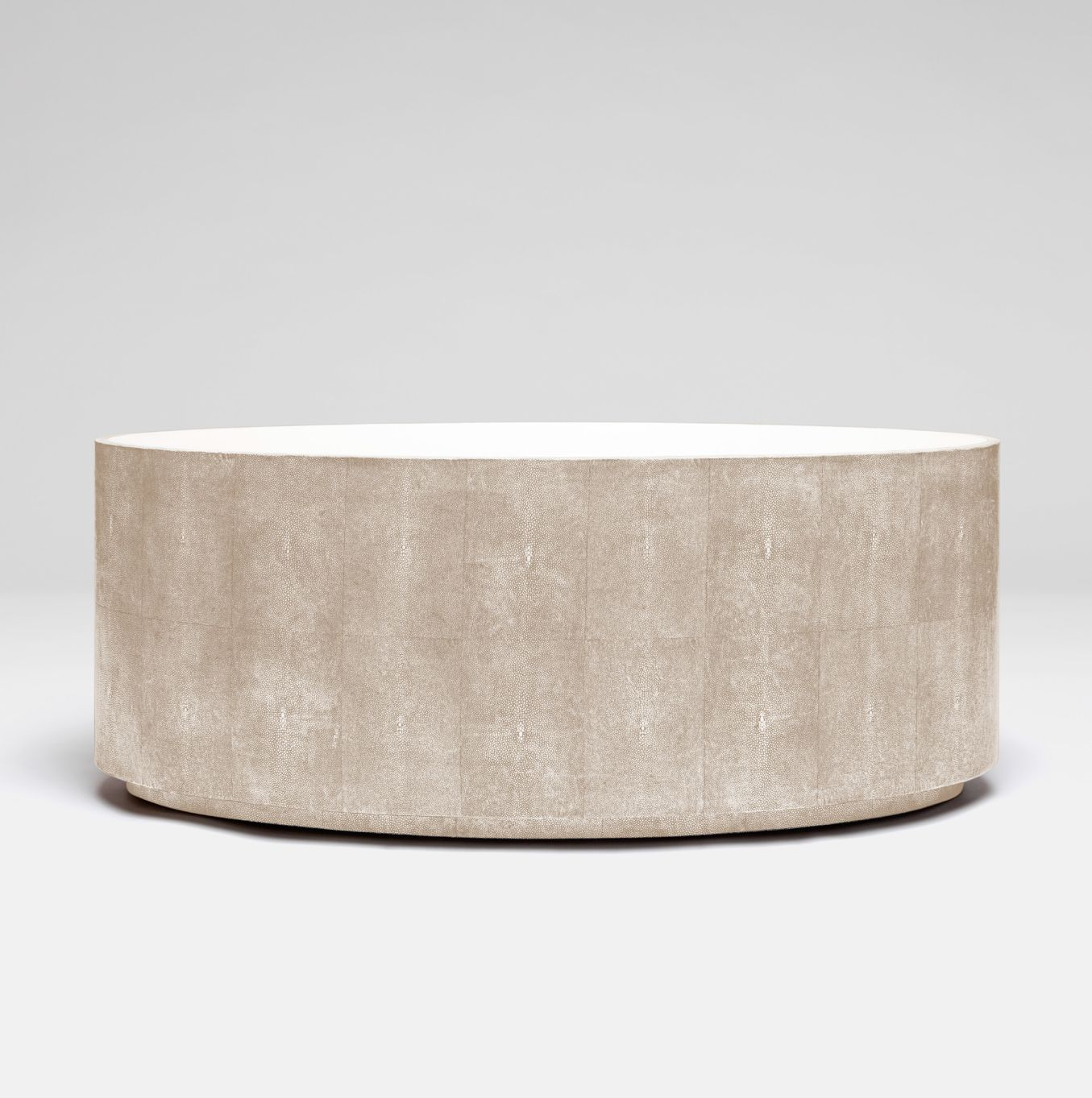 Oval Faux Shagreen Coffee Table