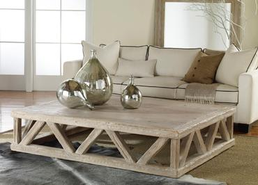 Large Rustic Trestle Coffee Table Mecox Gardens