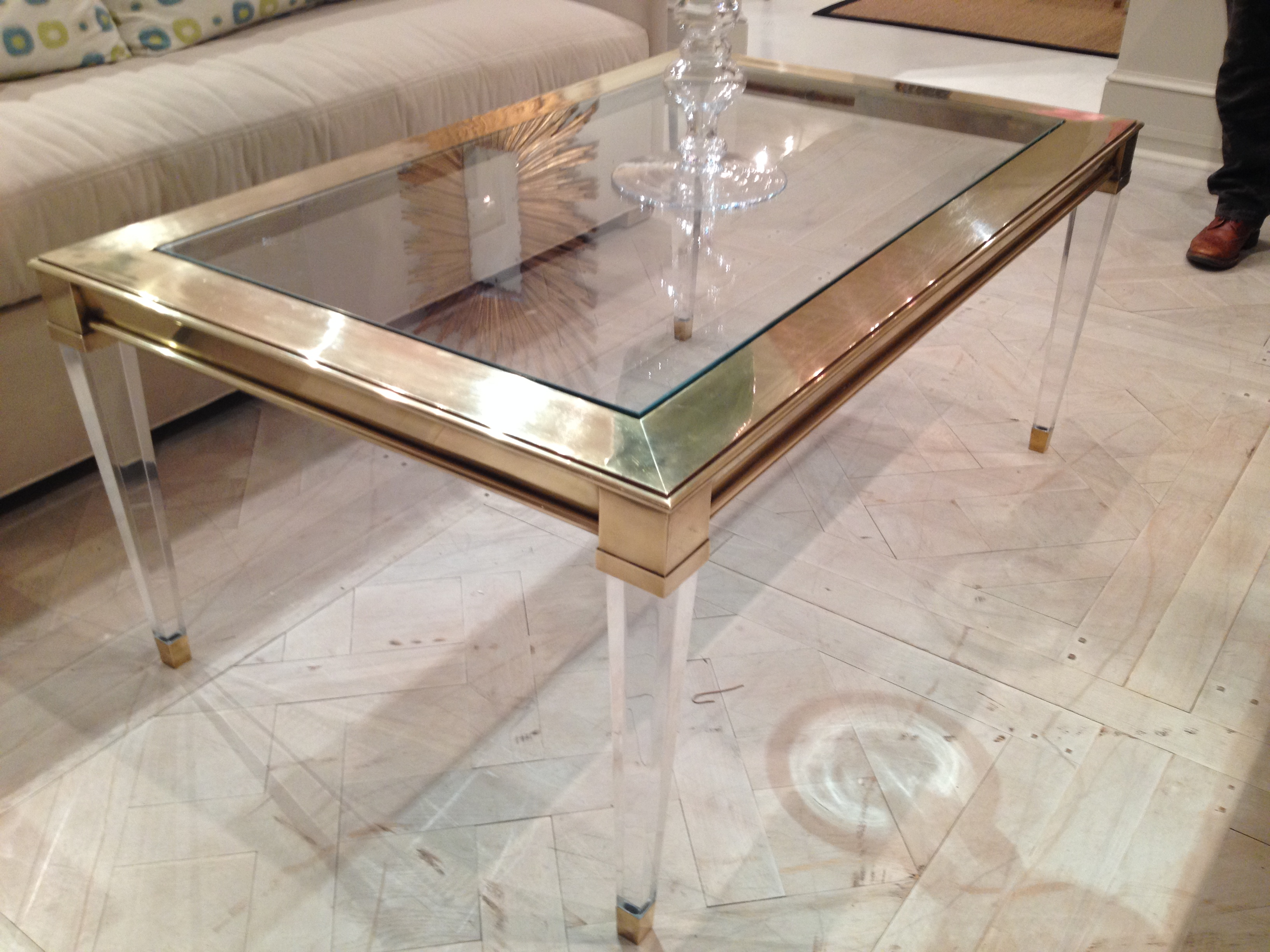 Salma Acrylic And Brass Coffee Table