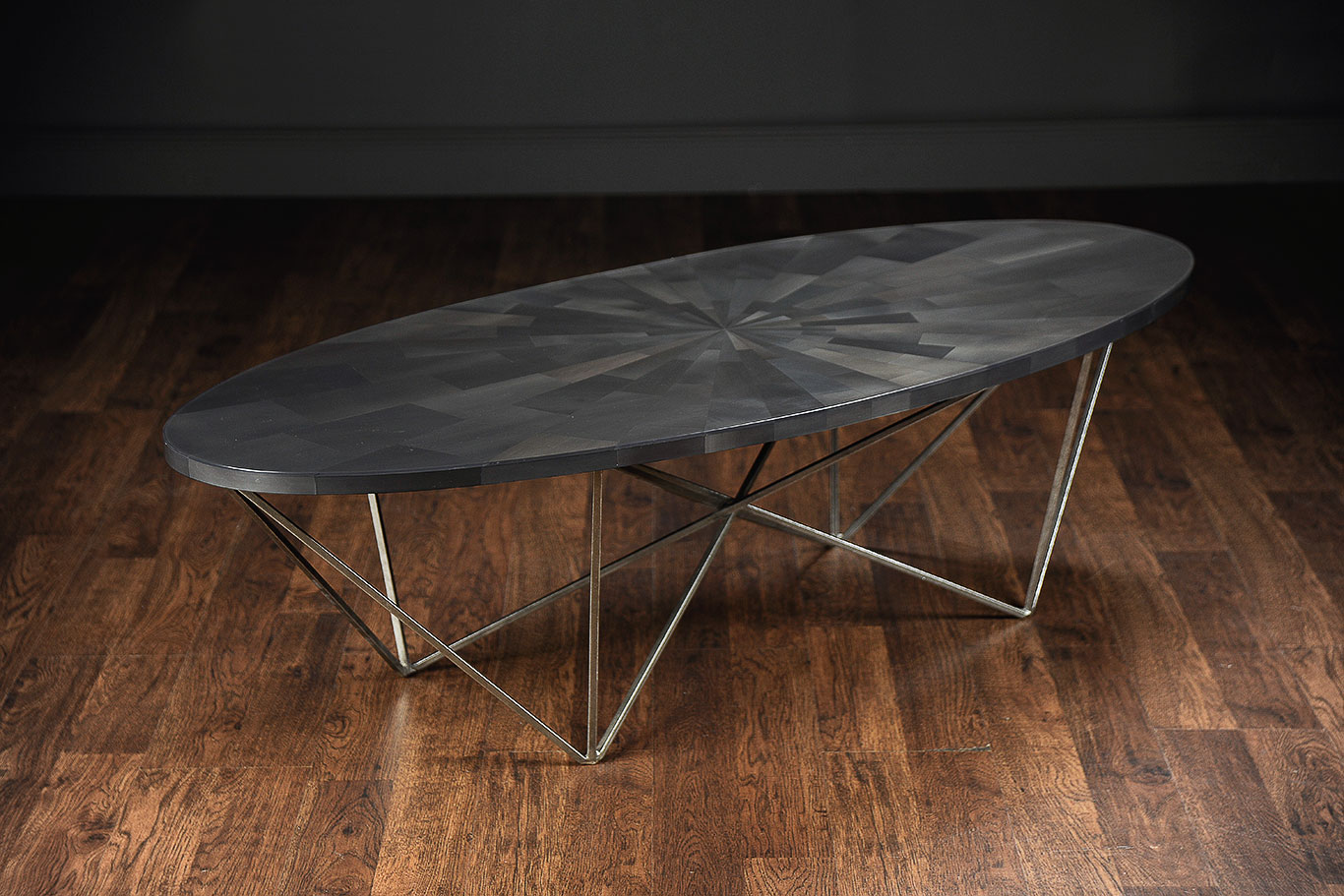 Xl george oval coffee table silver