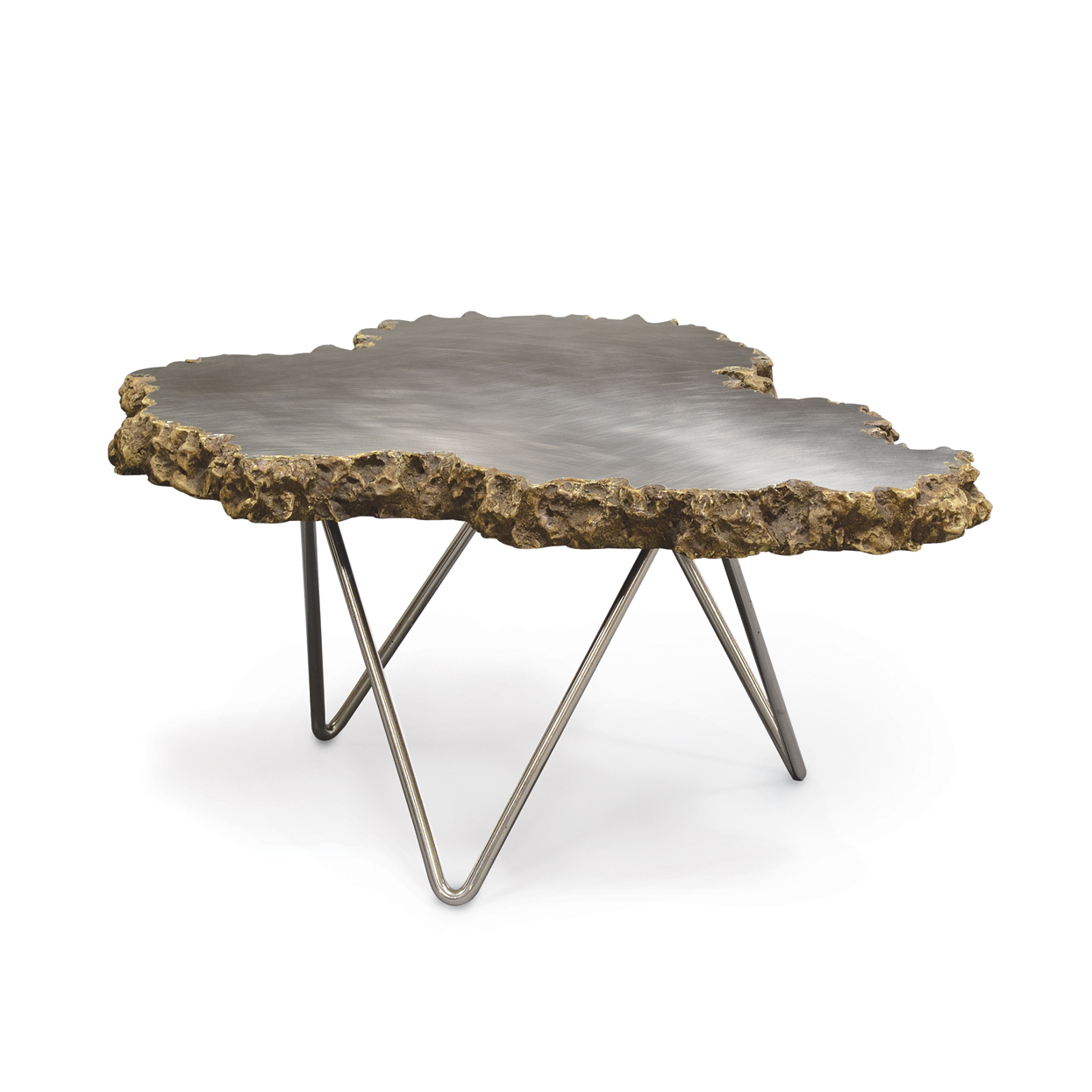Superbe Small Stainless Steel And Lava Stone Coffee Table