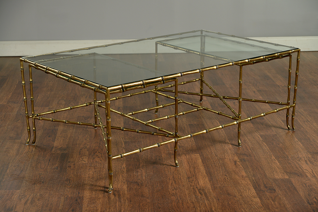 Faux Bamboo Brass Coffee Table