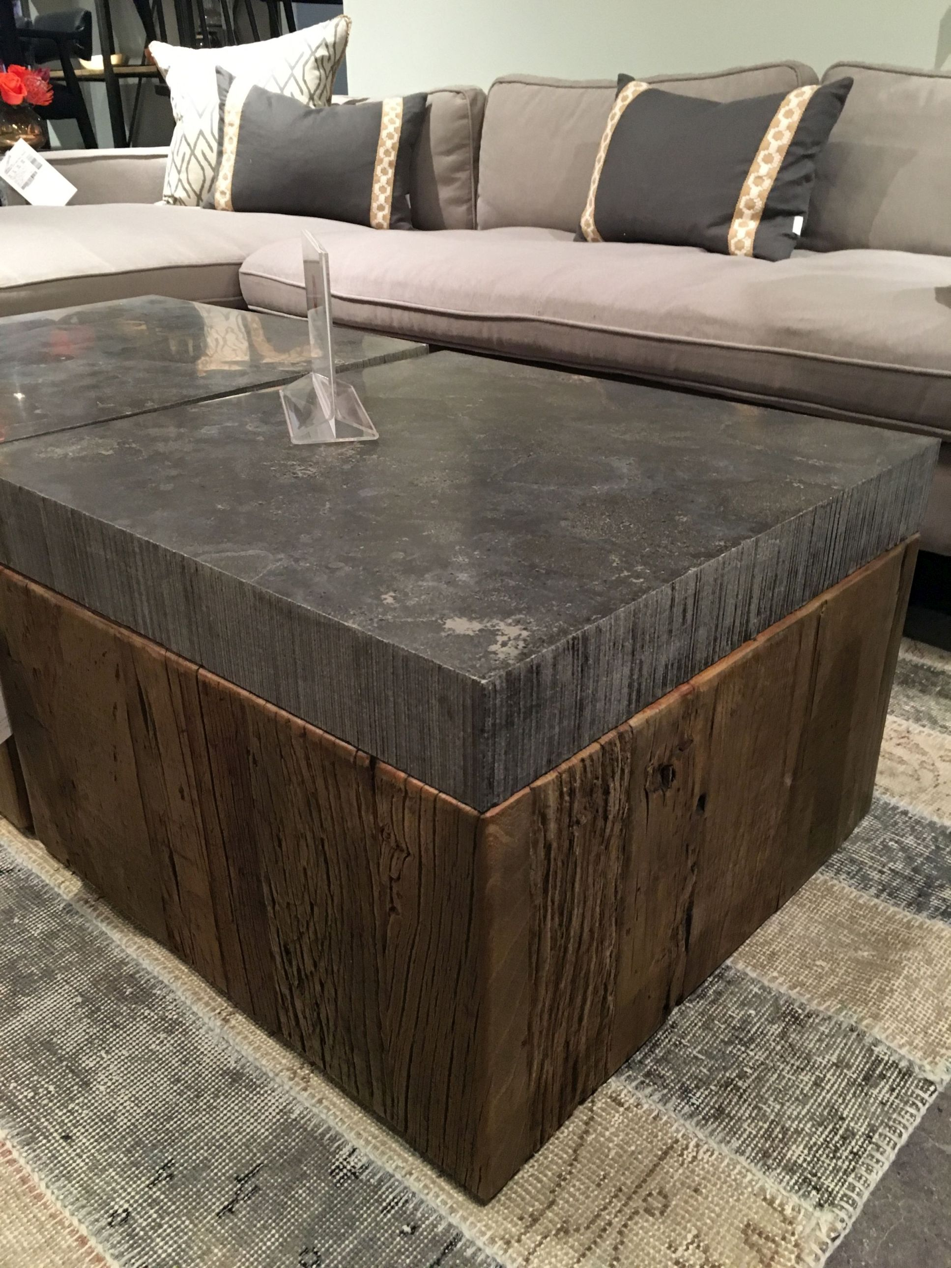 Square Pine And Bluestone Coffee Table Mecox