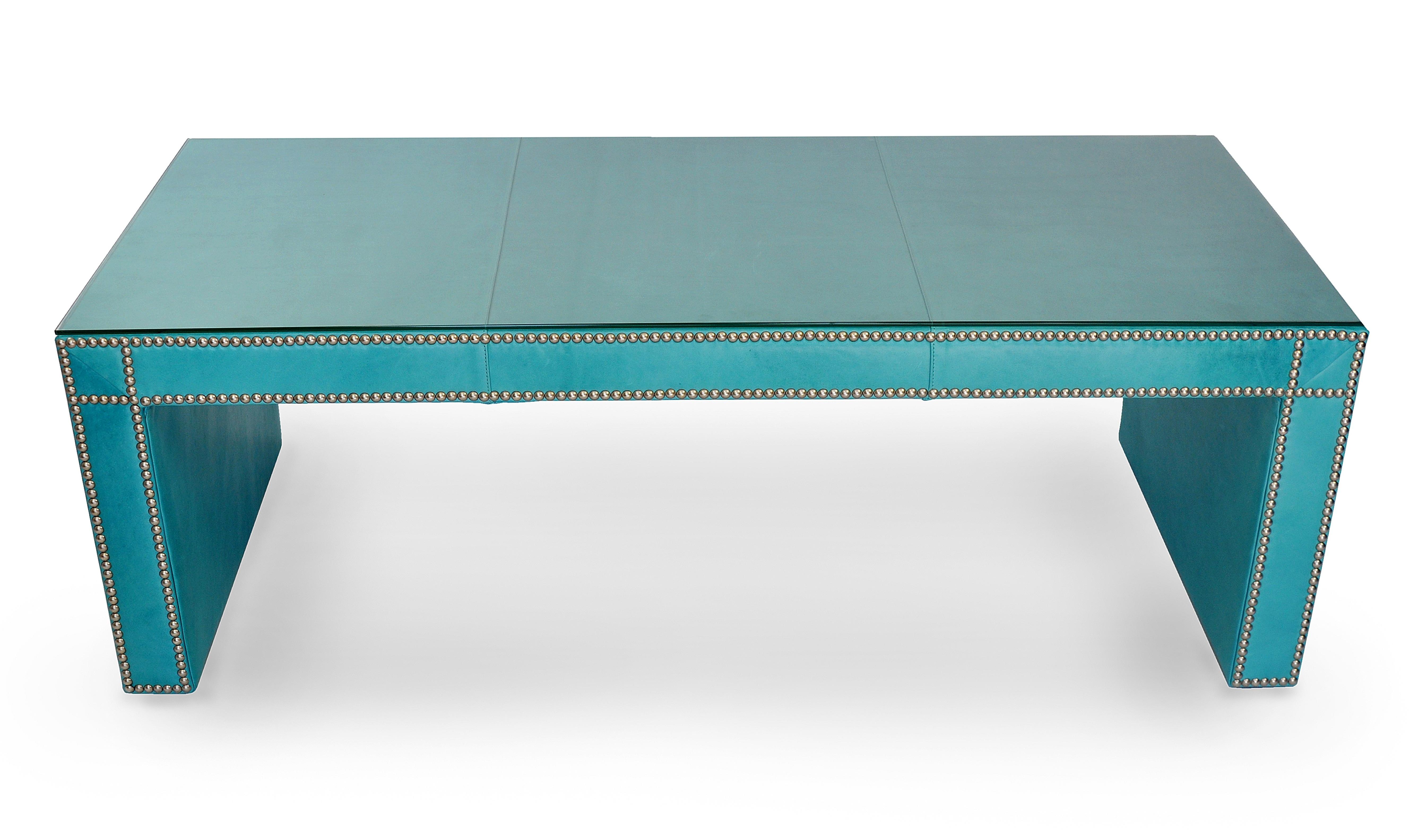 Aqua Leather Covered Coffee Table Mecox Gardens - Leather covered coffee table