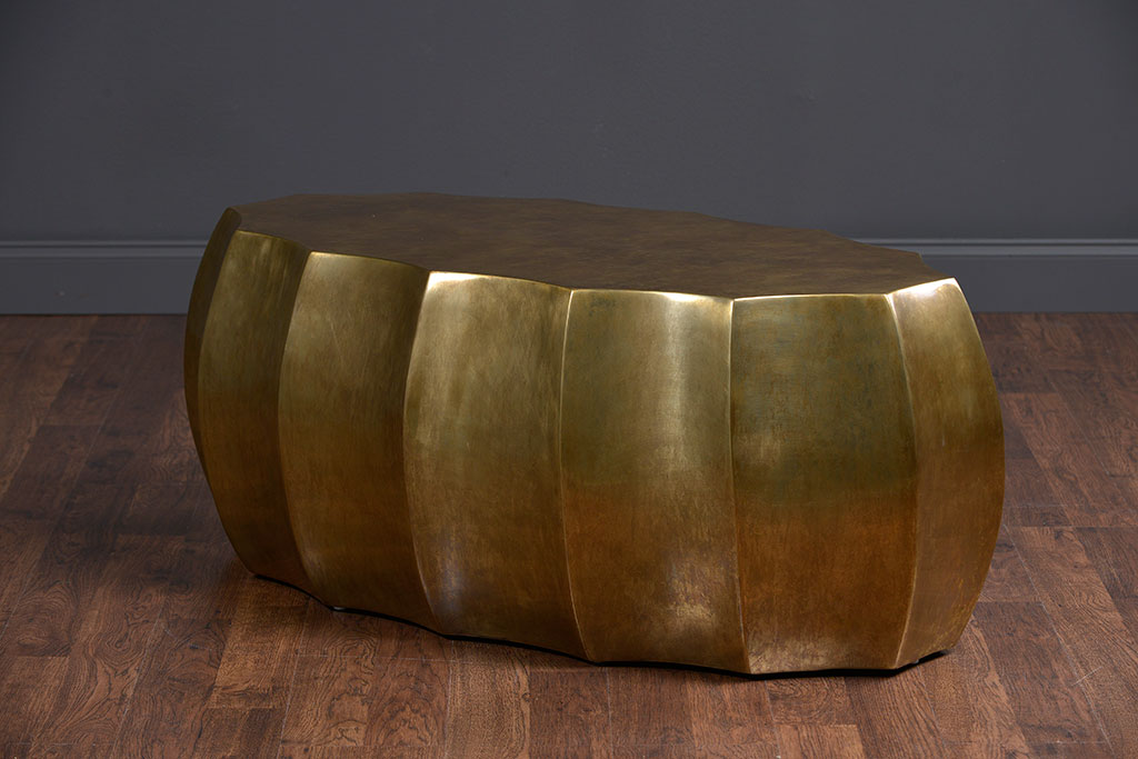 Nice Contemporary Scalloped Antiqued Brass Oval Coffee Table
