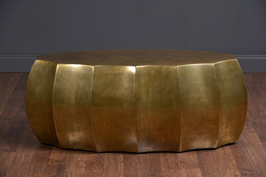 Attractive Contemporary Scalloped Antiqued Brass Oval Coffee Table
