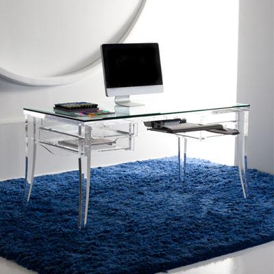 Acrylic office desk Glass Shelf Plant Jotter Modern Acrylic Desk Mecox Gardens