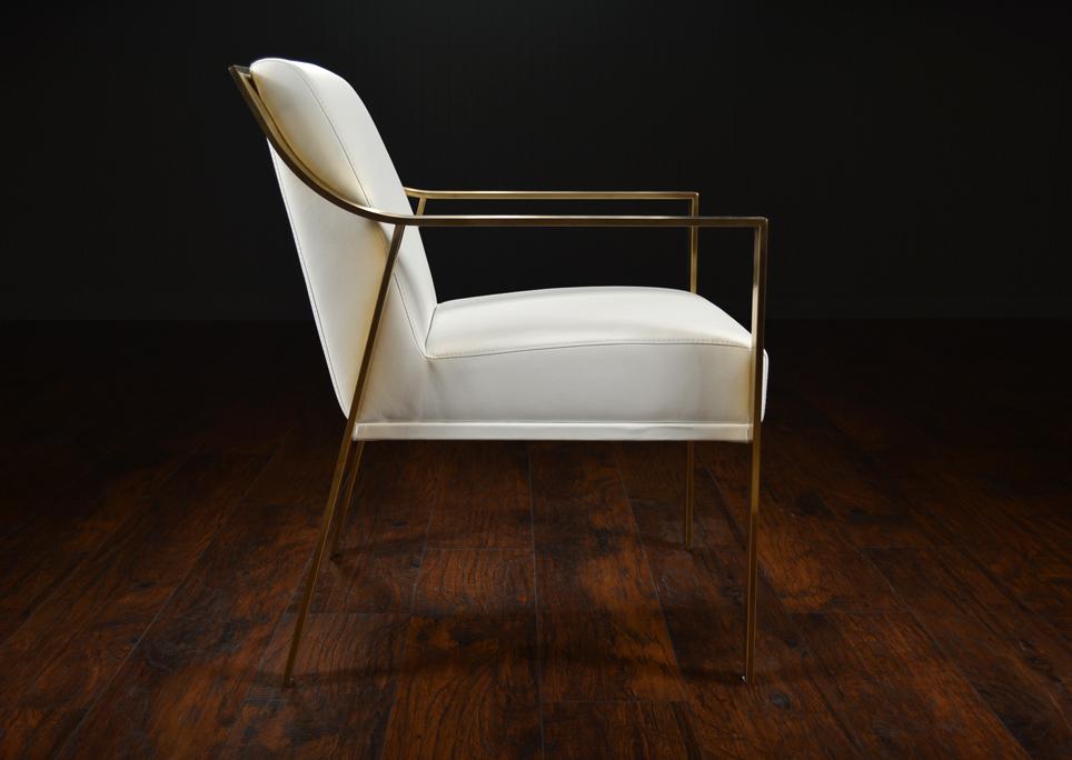 Modern Metal Framed Arm Dining Chair